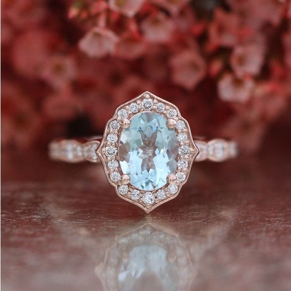 Vintage Floral Oval Aquamarine Engagement Ring in 14k Rose Gold... ($1,085) ❤ liked on Polyvore featuring jewelry, rings, gemstone rings, vintage style engagement rings, diamond engagement rings, rose gold diamond ring and oval cut engagement rings