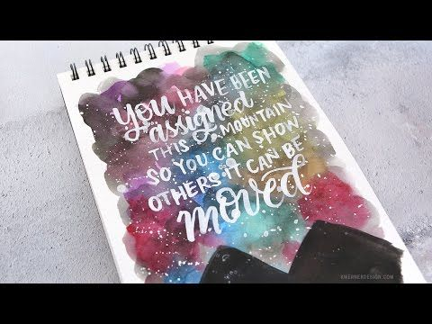 Brush Lettering & Colorful Sky and Mountains Scene – kwernerdesign blog