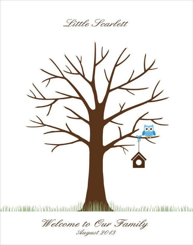 Baby Shower Fingerprint Tree Template Free Download Empreintes