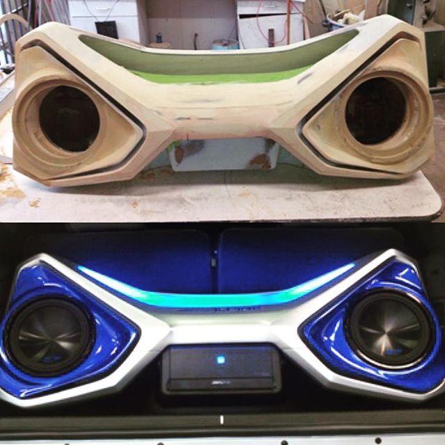 car audio custom install trunk amp rack unique enclosure eyes angry fiberglass