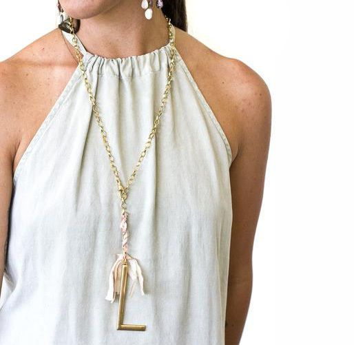 John Wind Jewelry Necklace Lariat Ribbon Gold Large Initial Gift Maximal Art  #JohnWind