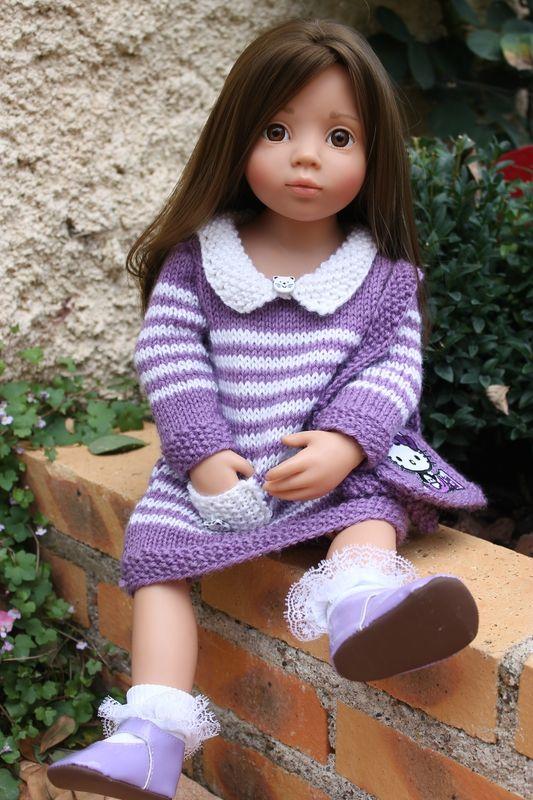 Les petites écolières :)   TUTO robe à rayures et sac besace Hello-Kitty (pour poupée GOTZ 50 cm)