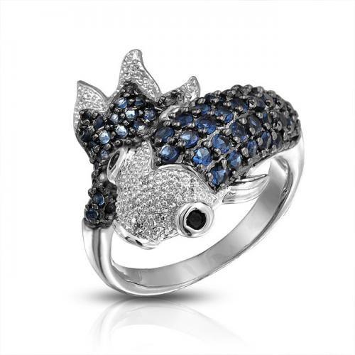 Koi Fish Blue Sapphire Color CZ Silver Tone Cocktail Ring