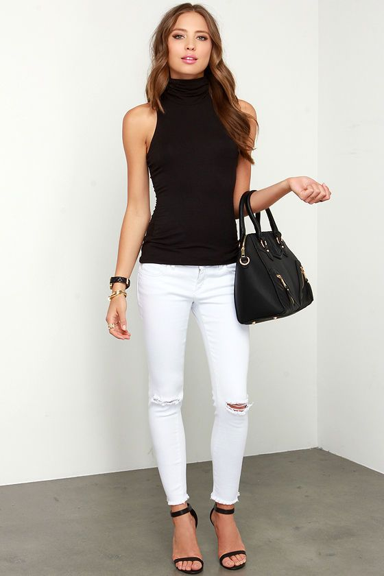 25+ best ideas about Sleeveless turtleneck on Pinterest | Jean skirt style White knee high ...