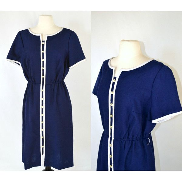 1960s Dark Blue Shirtwaist, A-line, Tea Length Dress, Nautical, White... ($60) ❤ liked on Polyvore featuring dresses