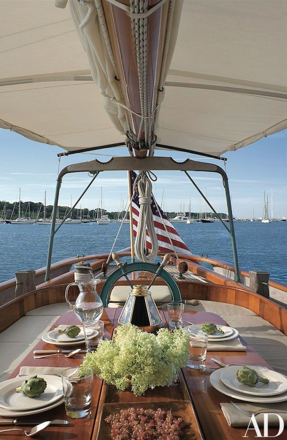 This Martha's Vineyard based boat's wana-wood cockpit table is perfect for entertaining | archdigest.com