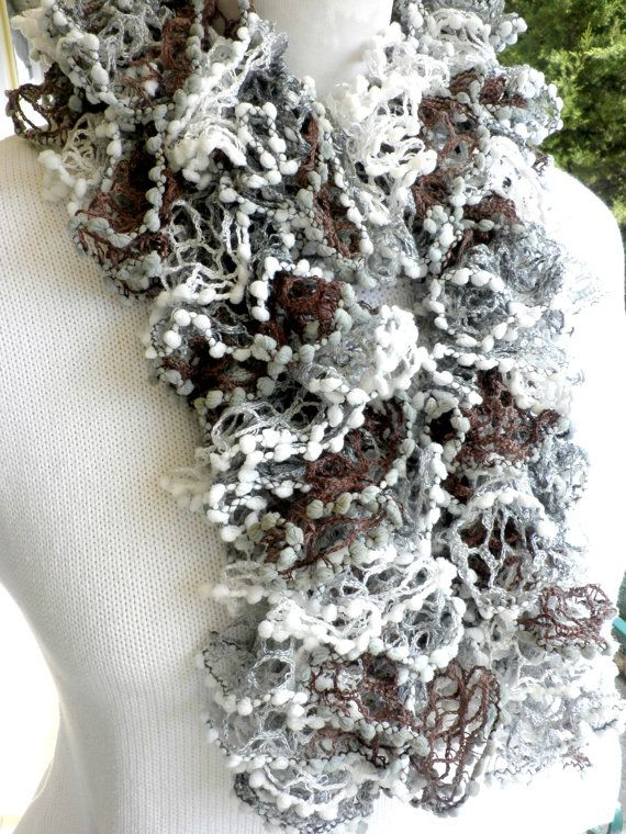 Brown grey white knitted scarf  Ruffle scarf knit  by dadahandmade, €14.00