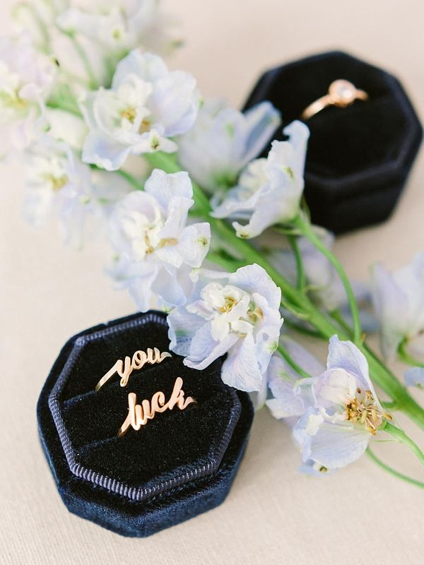 Navy blue velvet vintage engagement ring box