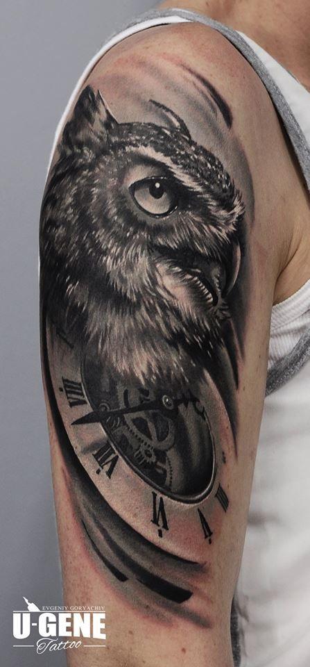 Redberry Tattoo Studio Wrocław #tattoo #inked #ink #studio #wroclaw #warszawa #tatuaz #gdansk #redberry #katowice #berlin #poland #krakow #kraków #ugene #evgeniy #goryachiy #zegar #clock #time #sowa #owl