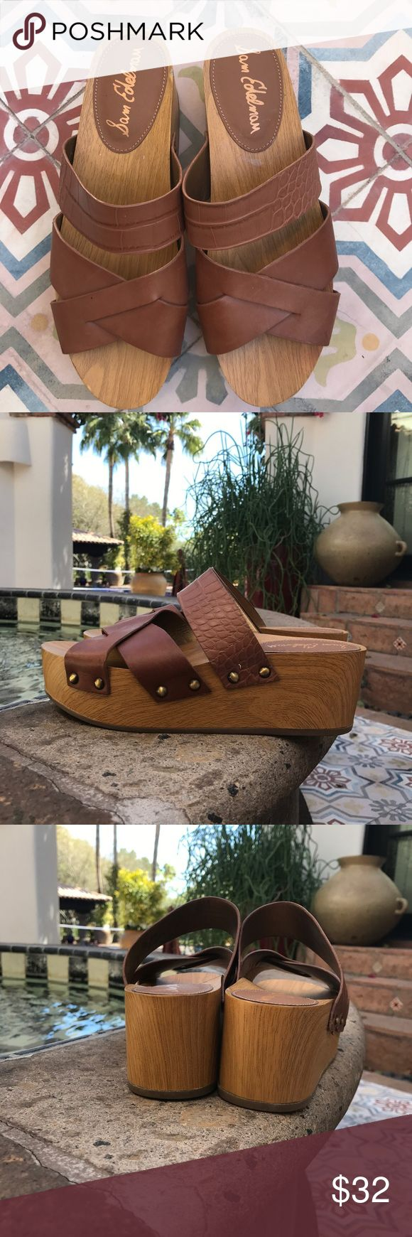 Sam Edelman brown 'Bane' sandal wedge SIZE 7.5 Worn once!  Perfect condition... Wedge is approximately 2.5 inches. The platform is a faux wood and the leather is smooth and croc embossed... perfect shoe for Spring or Summer!! Sam Edelman Shoes Platforms