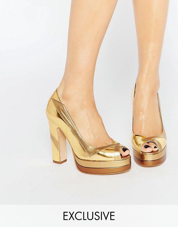Imagen 1 de Zapatos de tacón peep toe dorados Luna de Terry de Havilland