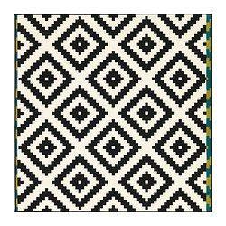 LAPPLJUNG RUTA Tapis, poils ras, blanc, noir - blanc/noir - IKEA