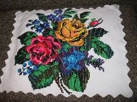 Antique hand woven traditional Romanian pillow case from Transylvania .