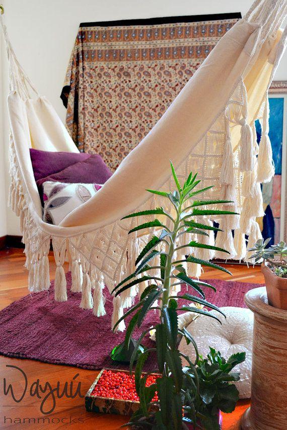 San Pelayo hammock,  lovely 100% cotton boho luxury hammock, macrame hammock, beige hammock, tassel hammock