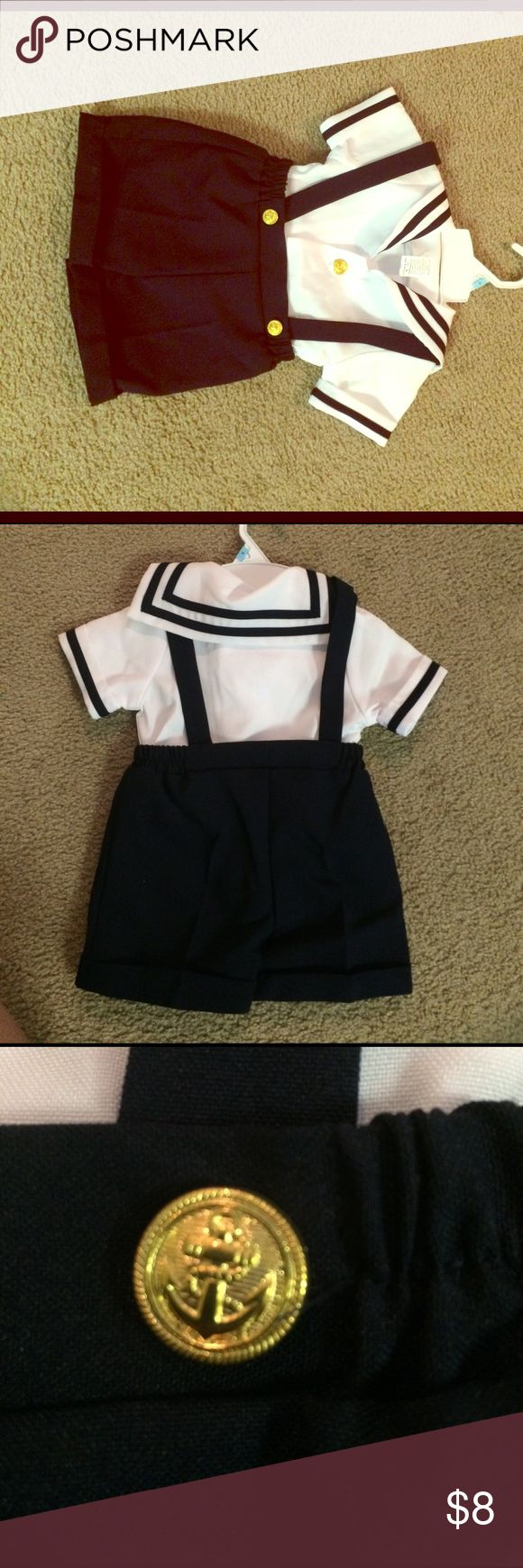 Boys sailor outfit new never worn Tag says medium but I guess it's 12 months bought for my sons first birthday but went in a different direction! Brand new never worn! Matching Sets