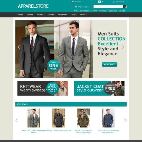 MENS Fashion CS-Cart 3 Template is specially designed for Apparel Man. There are Suits, Casual Shirts, Knitwear Sweaters, Polo Shirts, Coats Outwear, Pants Jeans . Garmonical colors combination of black and grey. Strong game with minimum color in additional to black and azure is Most usually in fashion Stores.