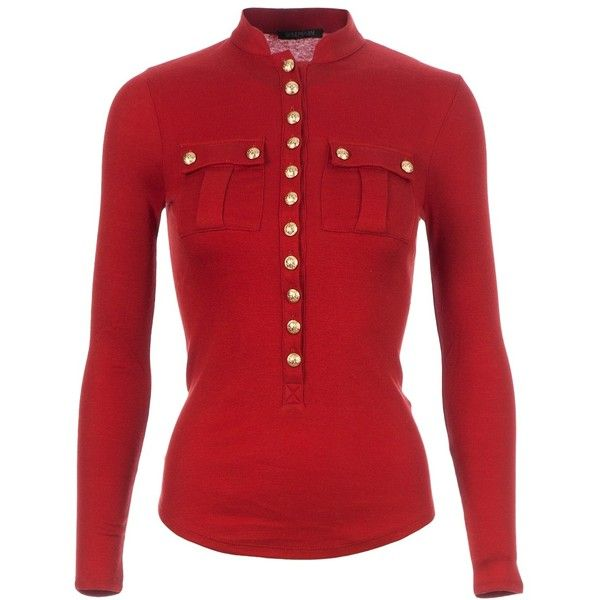 BALMAIN military-style blouse ($510) ❤ liked on Polyvore featuring tops, blouses, red, shirts, balmain shirt, long sleeve blouse, red long sleeve top, red long sleeve shirt and red shirt