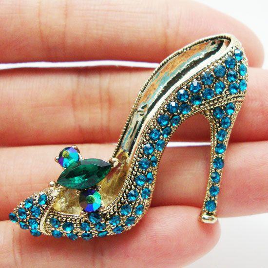 highheel+shoe+die   Lady High-Heel Shoe Brooch Pin Clear Blue Rhinestone Crystal(China ...