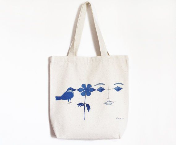 Blue drawing-Canvas tote bag by Pionara on Etsy