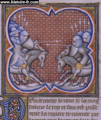 La bataille de Taillebourg, enluminure issue de l'ouvrage Grandes Chroniques de France, 14°s. - Après 1346, Jean 1° de Parthenay-l'Archevêque participe à plusieurs campagnes avec le roi de France, notamment au pont de Taillebourg, où il est fait prisonnier. Son fils Guillaume prend alors la tête de la seigneurie.
