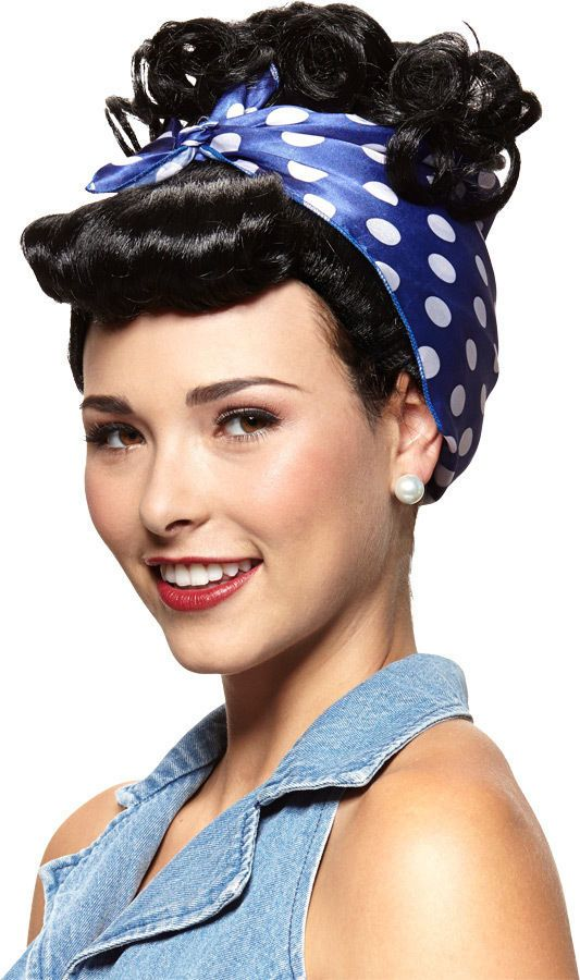 I Love Lucy Rivetor Adult Wig Black Red Curly Hair Riveter Updo Glamour Costume