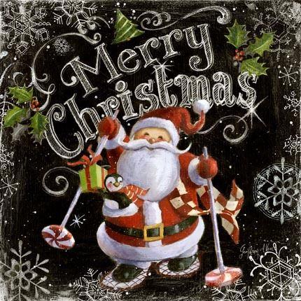 17-1269c Chalk Santas: Merry Christmas, Black -- By Geoff Allen