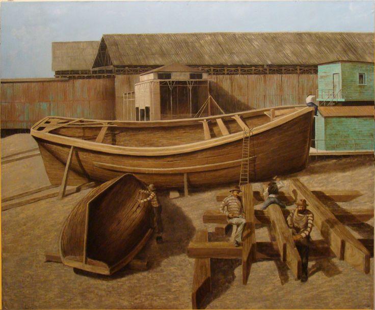 Luis Núñez, artista plástico #Antofagasta #Chile. Astilleros y calafateros, óleo sobre tela.
