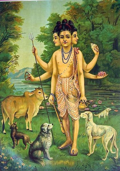 Dattatreya (trinity of Brahma, Vishnu and Shiva) with his four dogs who symbolize the four Vedas (c. 1910) by Raja Ravi Varma (1848–1906) via Wikipedia.