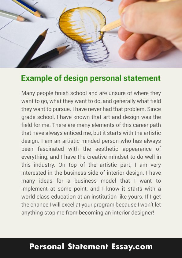 Do you know how to write the personal statement design? The talented designers are available here to provide the service personal statement design. The professional designer can give you tips for personal statement design. If you want the service, please visit http://www.personalstatementessay.com/our-services/art-and-design-personal-statement-essay-writing/