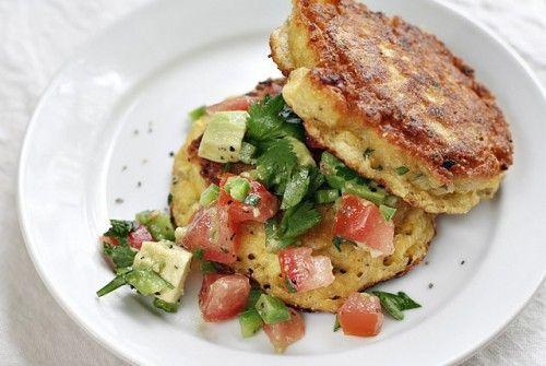 Summer Corn Cake with Avocado Salsa.