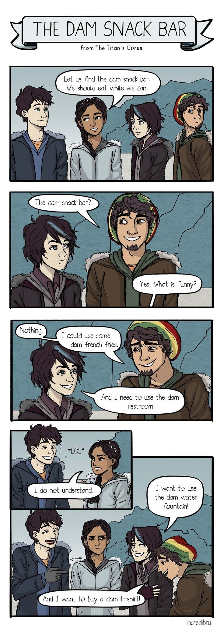 One of my favorite bits of dialogue from the Percy Jackson series, gorgeously illustrated. *g* (by incredibru @deviantART)