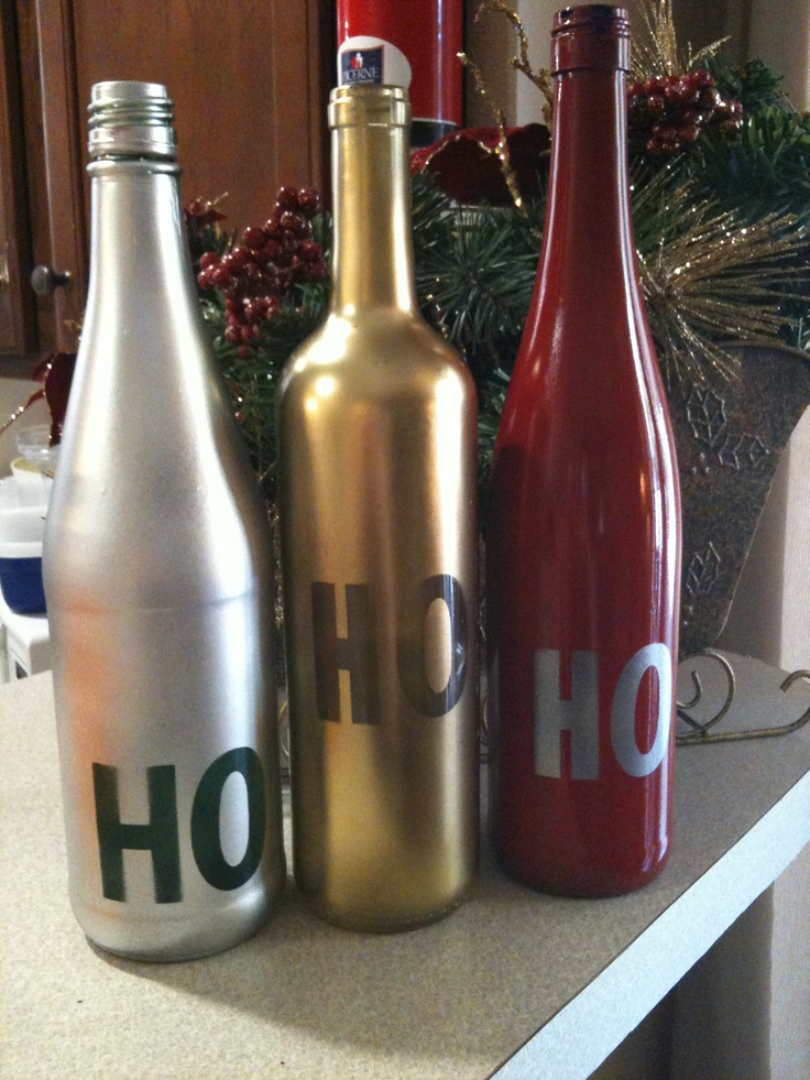 97 best christmas bottles images on pinterest xmas for What can i make with empty wine bottles