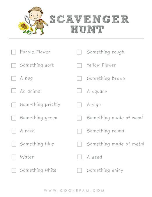Cute scavenger hunt list, we could modify this for Relay