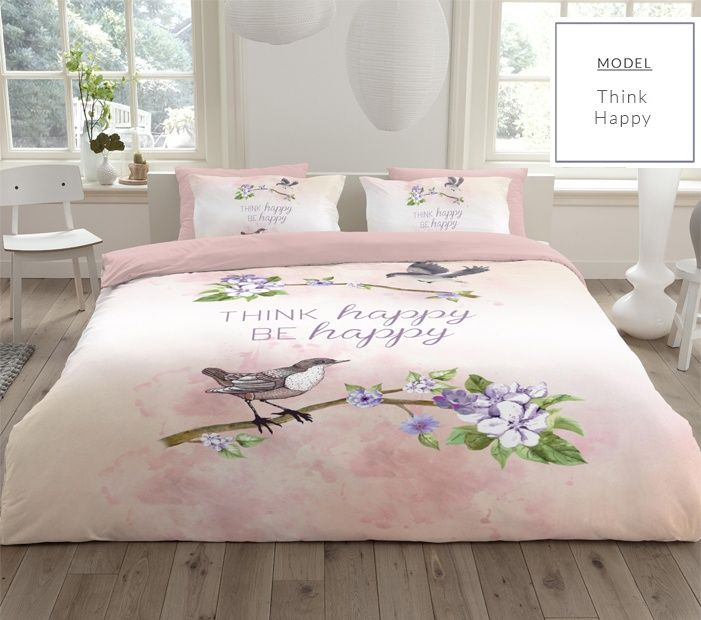 Ružové bavlnené posteľné obliečky s vtáčikom a kvetmi