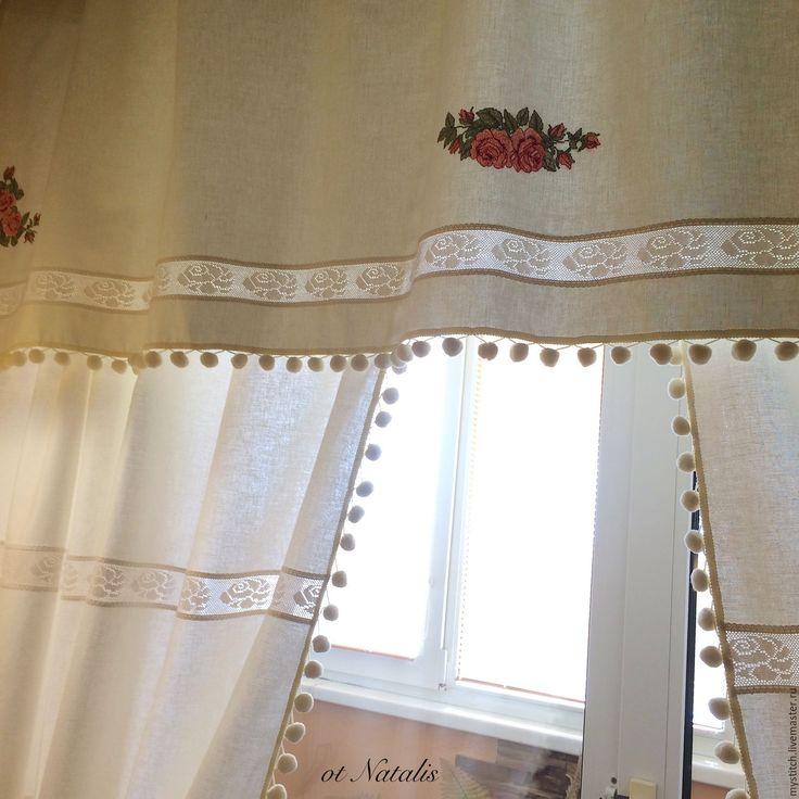 """Купить Винтажные льняные шторы с вышивкой """"Бутоны роз""""-2 - бежевый, шторы, шторы для дома"""