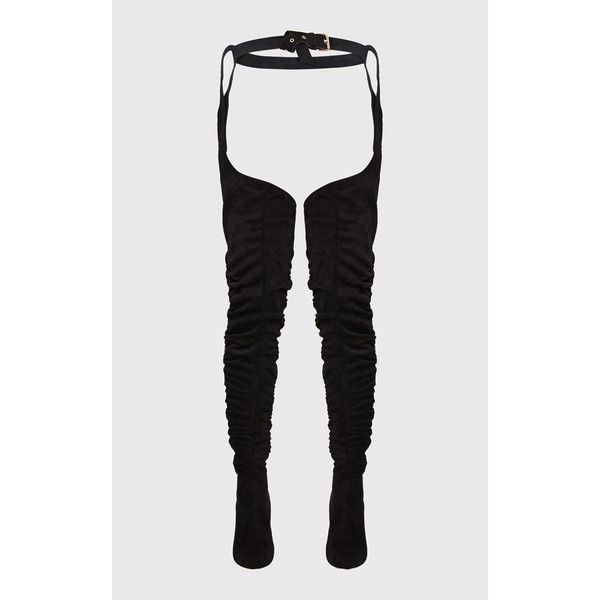 Beksie Black Belted Thigh High Boots ($96) ❤ liked on Polyvore featuring shoes, boots, thigh-high boots, black above the knee boots, kohl boots, black boots and black over-the-knee boots