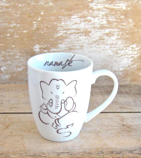 Ganesh Namaste Lotus Mug 12 oz Yoga Coffee by SecondChanceCeramics, $18.00