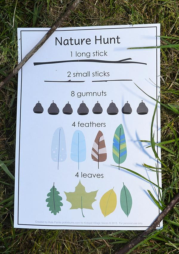 Nature Treasure Hunt - print out our list and get hunting! By @katepickle for Kidspot