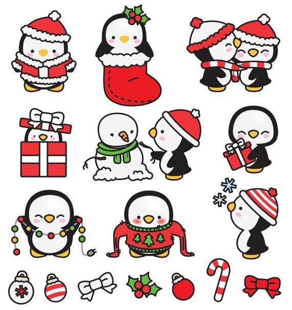 Clipart vectorial de alta calidad. Pingüinos lindo de Navidad vectoriales prediseñadas. Perfecto para crear tarjetas de felicitación, invitaciones y papelería, decorar tu blog o sitio web, diseño de carteles y decoración de la habitación para niños o bebés. Puede ser utilizado