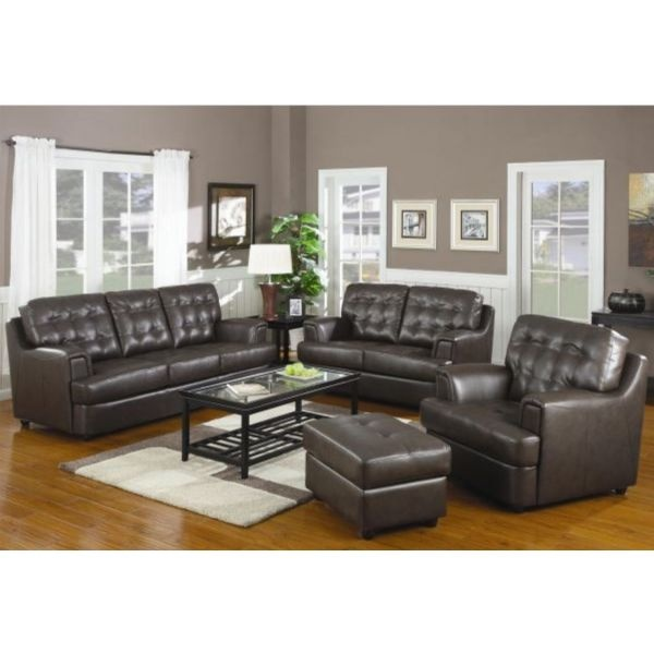 1650 4pc  free shipping  Hugo Tufted Leather Sofa Set by Coaster   502681. 20 best Decorate  Living Room Ideas images on Pinterest   Brown