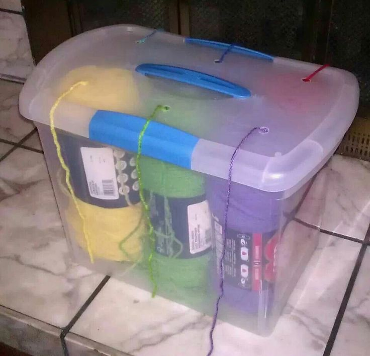 If you'd prefer for your yarn holder to have a lid, try a plastic bin like this one.: