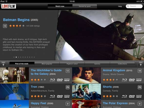 Love Film (Netflix Competitor in the UK) iPad interface