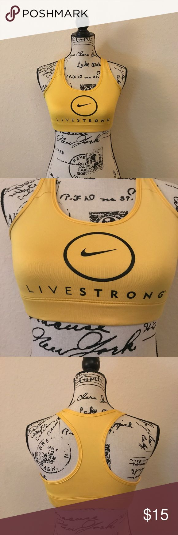 Nike Livestrong sports bra Nike yellow Livestrong sports bra size small. Nike Intimates & Sleepwear Bras