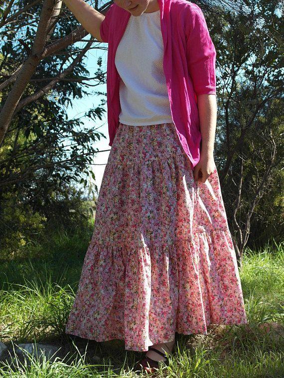 Full Tiered Skirt in pink floral poplin. | Modest apparel | Modest Clothing | Long skirt | Feminine | {Hand -picked Ad}. Eerbare kleding. Eng. Modest clothing. Fr. Vêtement modeste. Du. Bescheidene Kleidung. Sp. ropa modesta. Ru. Скромная одежда.