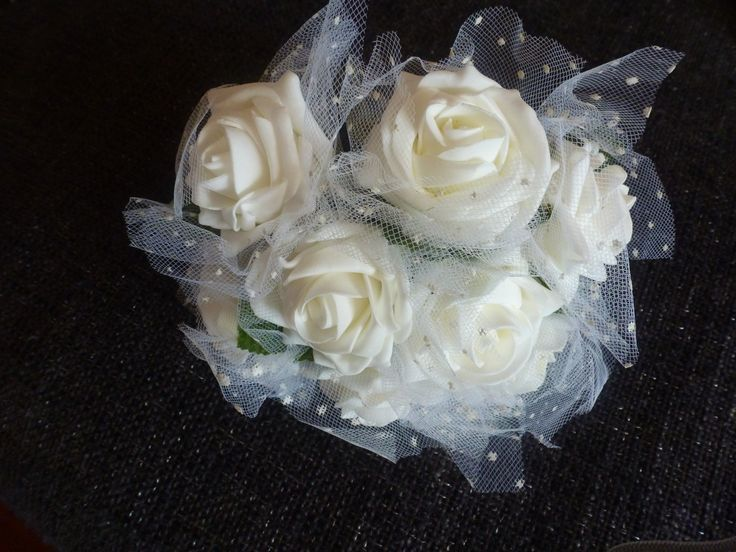 Bridesmaids poly foam rose and netting bouquet