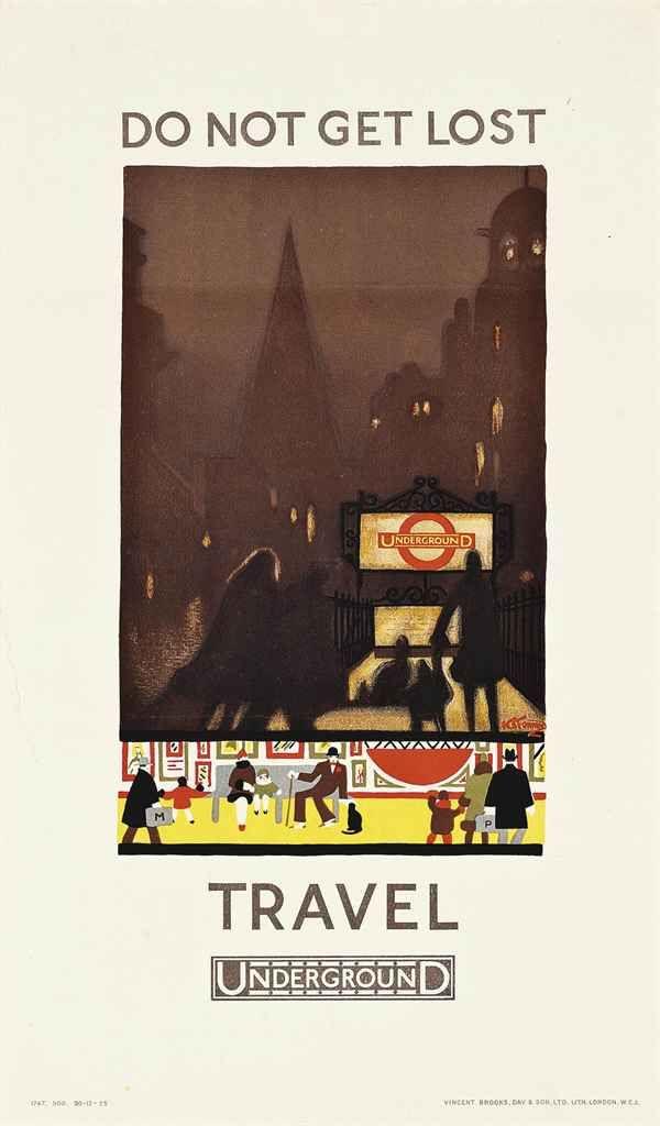 DO NOT GET LOST by Kathleen Stenning , 1925 ~ London Underground Poster