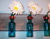 Colored Glass Bottles Rustic Wall Decor Kitchen Decor housewarming gift Rustic Wood boards wall Sconces