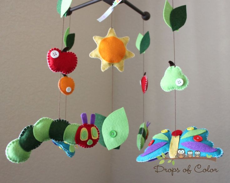 """Baby Crib Mobile - Baby Mobile - Nursery Caterpillar Butterfly Mobile """"Inspired by the Very Hungry Caterpillar"""" Mobile - Crib Mobile. $90.00, via Etsy."""