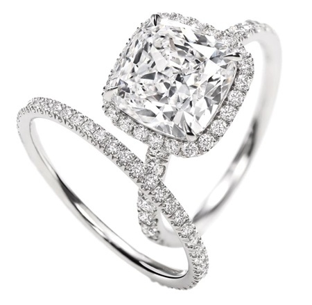 Cushion-Cut Micropavé Diamond Engagement Ring by msochic