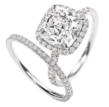 Cushion-Cut Micropavé Diamond Engagement Ring by msochic